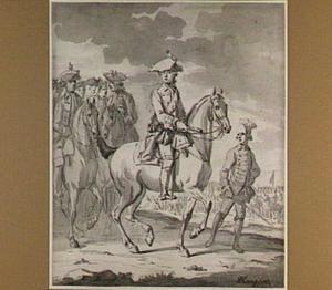 Portret van de jonge prins Willem V te paard als kapitein-generaal