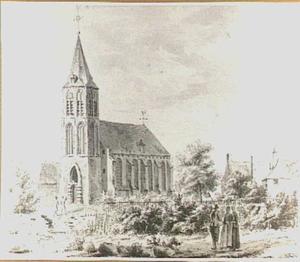 De kerk te Ravenswaaij, gezien vanuit het zuidwesten