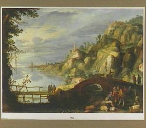 Berglandschap met reizigers bij een brug