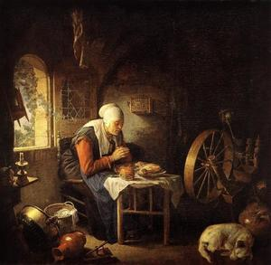 Vrouw biddend voor haar maaltijd