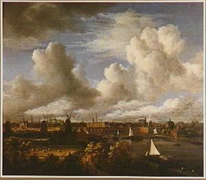 Gezicht op Amsterdam vanuit het zuiden