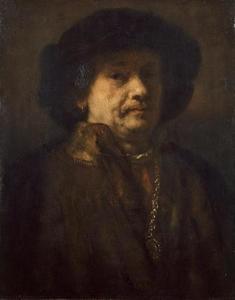 Zelfportret in bont, met baret en gouden ketting