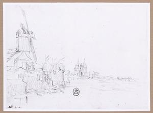 Standerdmolen op een bastion te Hoorn; in het verschiet de Noorderpoort