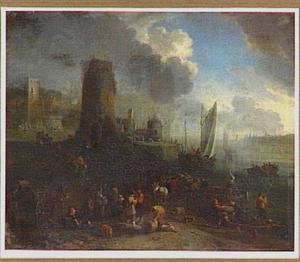 Gezicht op een haven met op de voorgrond een aanlegplaats
