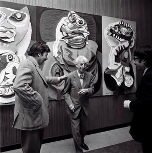 Portret van Karel Appel, Willem Sandberg en Shinkichi Tajiri