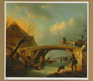 Winterlandschap met een huifkar op een  brug