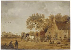 Landschap met reizigers bij een herberg met een zwaan op het uithangbord