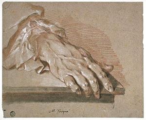 Hand van een man, geplaatst op een meubel