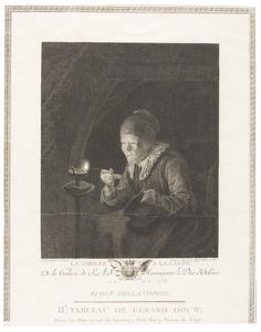 De oude vrouw bij een lamp