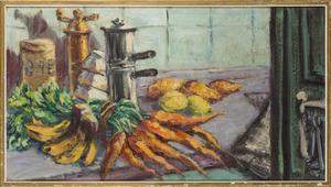 Stilleven met fruit, groenten en Italiaans koffiezetapparaat