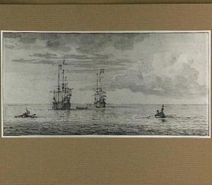 Twee oorlogsschepen en drie roeiboten op kalme zee