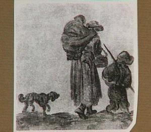 Boerin met kinderen en hond, van achteren gezien