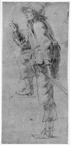 Staande soldaat met opgetrokken knie