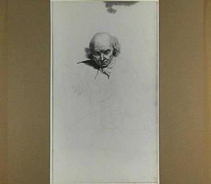Kop van een oude man en schets van zijn lichaam