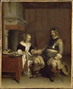 Interieur met een soldaat die een jonge vrouw geld aanbiedt