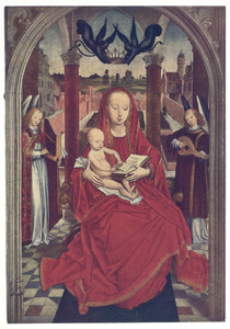 Tronende Madonna met christuskind en twee musicerend engelen