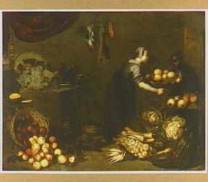 Keuken met dienstmeid en bediende