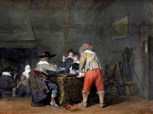 Soldaten die triktrak spelen in een interieur