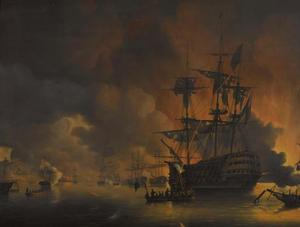 De brand op de werven van Algiers, kort na het begin van het bombardement door de Nederlands-Engelse vloot, 27 augustus 1816