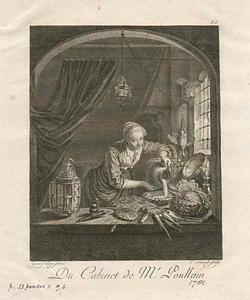 Jonge vrouw  water gietend uit een kruik
