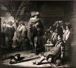 Kaartende en drinkende soldaten in een interieur