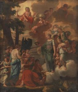 Allegorie op Apollo als beschermer van de kunsten en de kunstenaars