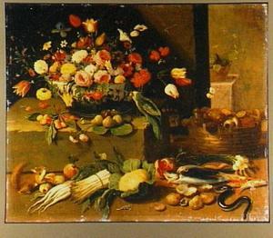 Stilleven van boeket bloemen, groenten en vis