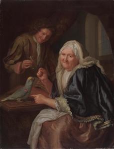 Interieur met een oude vrouw die een papegaai voert en een man met een glas wijn