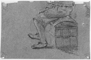 Onderste gedeelte van een man zittend op een koffer