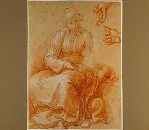 Zittende jonge vrouw en studie van twee handen