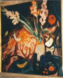 Stilleven met vaas met gladiolen, wijnglazen en fruit