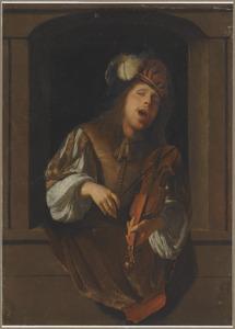 Een zingende violist in een venster