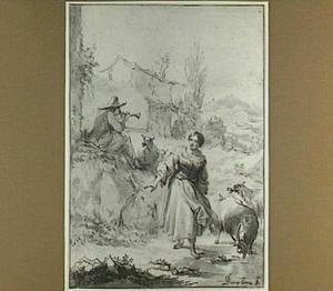 Fluitspelende herder en herderin met vee