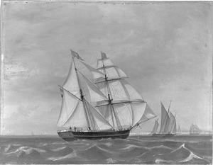"""Het schoenerbrikschip """"Hermanus Isaac"""" van rederij Rietveld, zeilende in het Kanaal"""