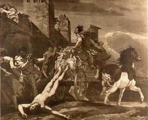 Achilles sleept het lijk van Hector achter zijn wagen
