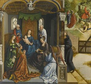 De aanbidding van Maria met kind door de H. Martinus in aanwezigheid van de HH. Petrus, Paulus, Agnes en Thekla