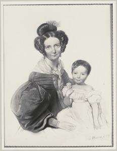 Dubbelportret van Henriette Johanna le Jeune (1791-1872) en haar dochter Johanna Henriette van Eck (1831-1909)