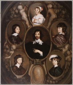 Familieportret van Constantijn Huygens (1596-1687) en zijn kinderen Constantijn II Huygens (1628-1697), Christiaan Huygens (1629-1695), Lodewijk Huygens (1631-1699), Philips Huygens (1633-1699) en Suzanne Huygens (1637-1725)