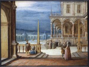 Een binnenplaats van een paleis met elegante figuren