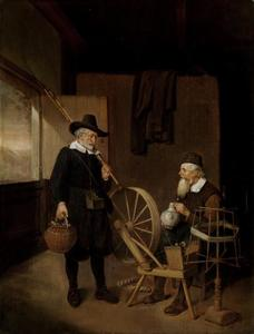 Interieur met hengelaar en man bij spoelrad en haspel