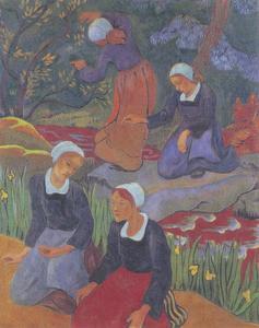 Vier Bretonse meisje in het bos