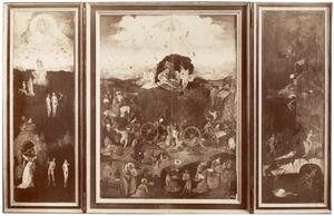Het aards paradijs (links); de hooiwagen (midden); de hel (rechts)