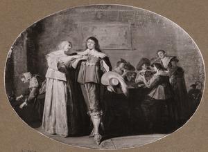 Elegant paar in een interieur met rokend en kaartspelend gezelschap