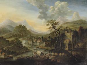 Berglandschap met een stad aan een druk bevaren rivier