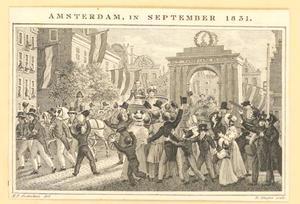 Intocht  van Willem II als kroonprins en zijn broer Frederik met hun echtgenotes in Amsterdam op 17 september 1831, na de Tiendaagse Veldtocht