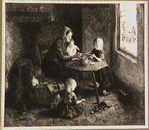 Moeder met kinderen in boereninterieur
