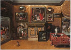 Interieur van een kunstkabinet met links de 'Anes Iconoclastes' in een doorkijk en rechts een groep geleerden in een studeervertrek