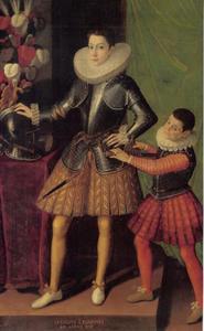 Portret van Giuliano II. Cesarini op 14-jarige leeftijd met zijn page