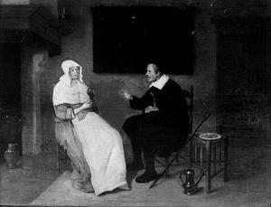 Interieur met man en vrouw