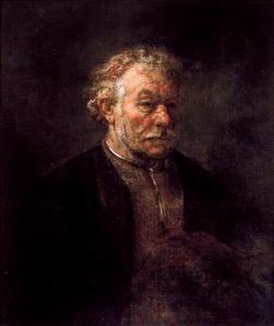 Halffiguur van een man met grijs krullend haar